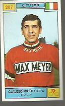 FIGURINA CARD  PANINI CAMPIONI DELLO SPORT 1969/70 # 207-MICHELOTTO-C-CICLISMO