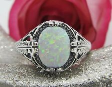 Oval Opal Sterling Silver Filigree Ring Sz 8 Antique Vintage Art Deco Style