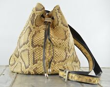 Real Python Snake Skin Cross Body Drawstring Bucket Bag Purse By CC Made Italy