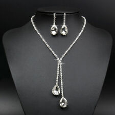 9K  White Gold Filled  Beautiful Luxury Crystal Set Necklace+Pendant+Earrings.