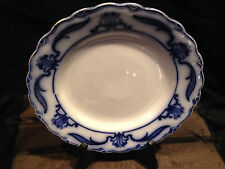 "Antique W H Grindley Lotus Flow Blue Floral Pattern 8"" Salad/Dessert Plate"