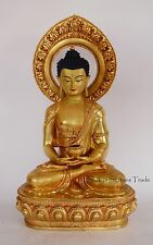 "Fine 19"" Amitabha Buddha Gold Gilded Face Painted Copper Statue Frm Patan, Nepal"