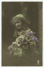 c 1910 Antique Child Children CURLY HAIRED CUTEY GIRL tinted photo postcard