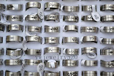 FREE Fashion 100pcs Wholesale Mixed Lots Cut Animal Silver Stainless steel Rings