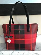 Kate  Spade Small Ryan Hawthorne Lane Cherry Red Orange Plaid Tote Bag - LN EUC!