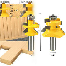 2Pc Matched Tongue & Groove V- Notch Router Bit Set  45° Cutter Woodworking Tool