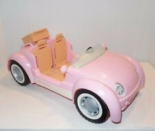 2006 MATTEL BARBIE DOLL PINK CONVERTIBLE BEACH CRUISER CAR WITH BASKET