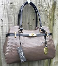 NWT Giordano Italian Made Taupe & Black Patent Leather Embossed Satchel Handbag