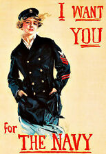 Ad I Want You For the Navy Recuitment   Propaganda War Poster Print
