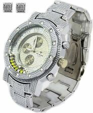 Mens CZ Iced out Hip Hop Wrist Watch Plus Hiphop Earring 2 pcs set silver metal1