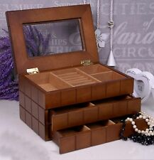 Wooden Jewellery Box 2 drawers Case/Cabinet Brown Perfect Gift Christmas Gift