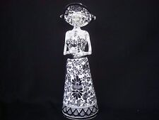 Day of the Dead hand made Talavera, Mexican art Catrina figurine Black and White