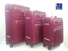 "Lightweight Burgundy Color Spinner 20"" 24"" & 28"" Up-Right 3 pcs Luggage Set"