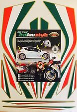 MOTORCYCLE ITALIAN FLAG HELMET REFRACTIVE REFLECTING STICKERS EMBLEM MADE ITALY