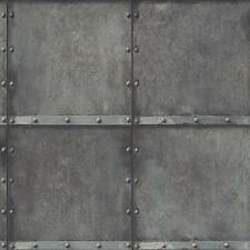 Wallpaper Designer Industrial Modern Faux Weathered Steel Squares with Rivets
