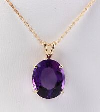 9.30 CTW Natural Amethyst in 14K Solid Yellow Gold Women Necklace & Pendant
