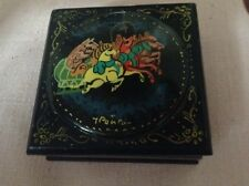Soviet or Russian Decorative Lacquered Box,Horse Drawn Sleigh & Bear Driver