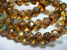 25 8x6mm Amber Travertine Czech Fire polished Rondelle beads