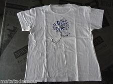 T-shirt blanc brodé fleur bleue 123 Taille 42/44 super état