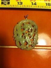 Vintage LARGE heavy 10k yellow gold Carved Jade dragon Pendent