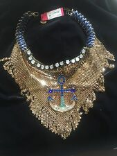 NWT Auth  Betsey Johnson Ship Shape Blue Anchor Mesh Statement Necklace $195