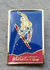 ADDICTED SNOWBOARDING Mountains Ski Resorts Skiing Lapel Hat Pin
