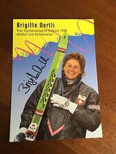 Brigitte Oertli -  World cup alpine ski racer hand signed post card.