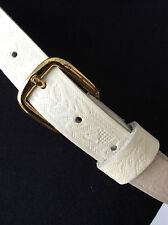 """vintage 1970's tooled white leather trouser belt L ~26""""-38"""" his/hers~ unworn"""
