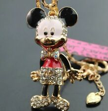 Cute NWT Betsey Johnson Necklace Red Mickey Mouse Body Legs Move