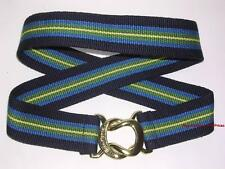 E.PICONE Gold Logo Wide Stripe CANVAS BELT Blue Green Yellow Black Women sz L/XL