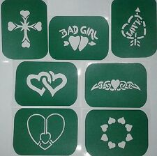 Pack of 7 HEART-1 Hearts Vinyl Tattoo  Body Art Stencils Glitter-Airbrush