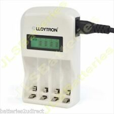 1 Hour FAST LCD Mains BATTERY CHARGER for 4 AA or AAA Ni-Mh WHITE uk plug