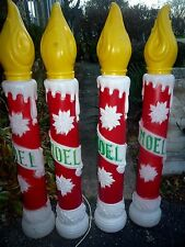 FOUR VTG Empire Noel Candle Sticks Plastic Lighted Blow Molds 39""