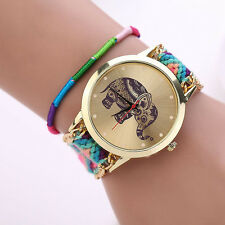 Women Girl Watch Handmade Weaved Braided Elephant Bracelet Dial Quarzt Watch UK