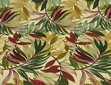 RICHLOOM OASIS GEM LEAF TROPICAL GREEN RED OUTDOOR FURNITURE FABRIC BY THE YARD