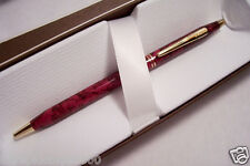 CROSS Century Classic MADE in the USA Sienna Marble Wood Red  23kt Gold Pencil