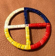 Very Nice Awesome New Lakota Sioux Quilled Medicine Wheel Quilled On Rawhide