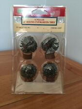 "Lemax Christmas Village 2"" Round Evergreen Tree NIB Lot Of 4"