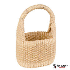 Wicker Basket Handbag Handles Natural Shopping Medium Round Storage Quality
