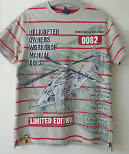 Next Boys 9-10 Years Oatmeal 100% Cotton Short T-shirt Top Haynes Helicopter 1