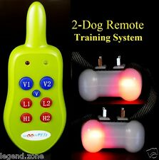 600-Feet Rechargeable Remote 2 Dog Trainer Shock Vibration Bark Training Collars