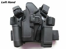 4in1 Tactical Drop Leg Thigh Left Holster With 2 Pouches for Glock 17 18 22 23