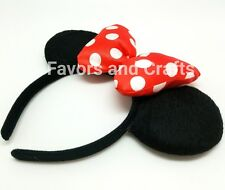 1 Minnie Mouse Headband Ears RED Fluffy Black Polka Dot Bows Hat Mickey Party