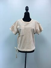 ETCETERA GLEE SUEDE/LEATHER SHIRT TOP CAMEL PERFORATED DRAWSTRING WST UNQ SZ 4