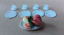 Dollhouse miniatures 1:12 scale party meat tray with 4 pc. place setting dishes