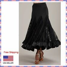 "SGS39bk S Black 37"" long Full Ballroom Standard Smooth Lace Dance Dress Skirt"