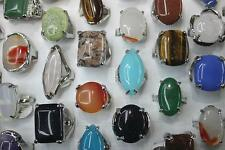 Job Mixed Lots 25pcs Oversize Nature stone Big Sliver Lady's Rings