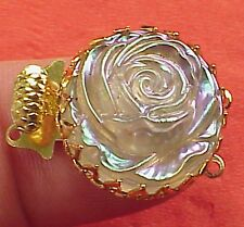 Vintage 19mm Round Necklace Clasp Connector 2 Str Basket Iridescent Classic Rose