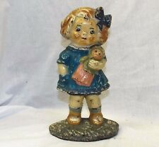 Old Antique HUBLEY CAST IRON DOLLY DIMPLE DOORSTOP Child Doll ORIGINAL PAINT