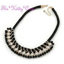Jet Black Braided Silk Choker 14K Gold Pl Catwalk Necklace w/ Swarovski Crystals